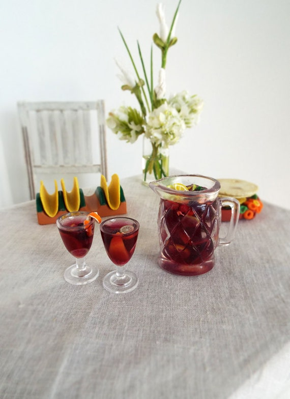 Miniature sangria wine set pitcher and two goblets for 1 6 - Plastic sangria glasses ...