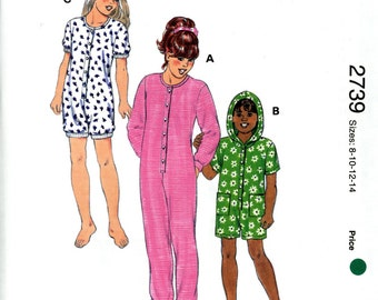 Kwik Sew 2739 Girls Rompers One Piece Hoodie Jumpsuit Pajamas Size 8 10 12 14 Uncut Sewing Pattern 1998