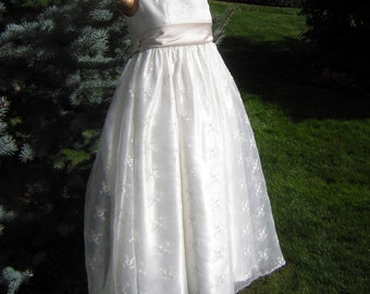 Vintage White Girls Dress Gown - Holiday Party, Wedding or Confirmation - Embroidred White Organdy & Satin Custom Made Flower Girl