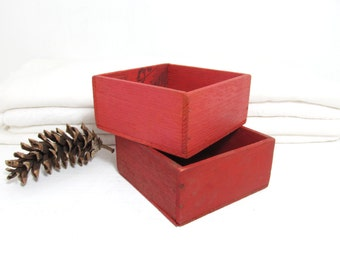 Vintage Orange Wood Boxes . Red Wooden Boxes . Home Decor . Small Square Display Box