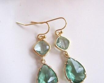 Modern Earrings, Green Glass, Teardrop Dangles, Two Tone, Bridesmaid Earrings, Wedding Jewelry