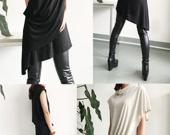 Solitude - Asymmetrical tunic dress / deconstructed boho tunic / hippie tunic dress / zen draping top / Extravegant tunic dress (Y1535S)