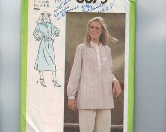 1970s Vintage Sewing Pattern Simplicity 8875 Misses Loose Caftan Shirt Tunic Dress Size 6 8 Bust 30 31 32 1978 70s