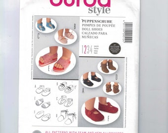 Craft Sewing Pattern Burda 9512 Easy Doll Shoes Slippers Sandals UNCUT