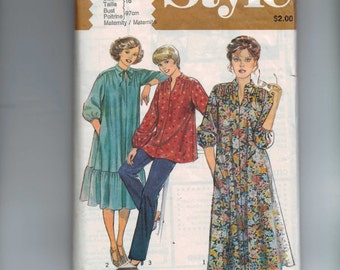 1970s Vintage Sewing Pattern Style 2731 Misses Gathered Shoulder Top Dress Pants Maternity Size 16 Bust 38 1979