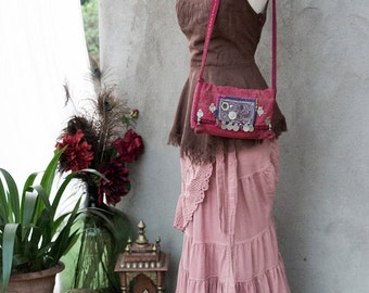 BOHEMIAN GYPSY BAG - Hand Purse Shoulder Clutch Hippie Boho Shabby Chic Vintage Recycle Upcycle India Patchwork - Red Pink Purple Brown - 16