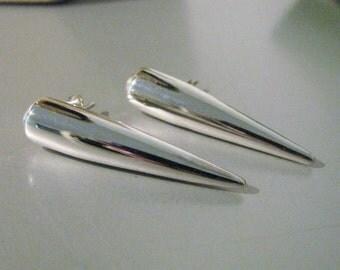 Big Spike Earrings Solid Sterling Silver Large Studs Stud