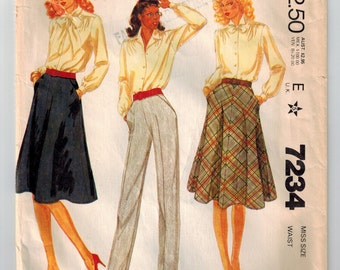 Vintage 80s Skirt and Pants Sewing Pattern Misses Size 10 Waist 25 Four-Gore Skirt Cut Bias Inset Pockets Back Zipper Hooked Waistband