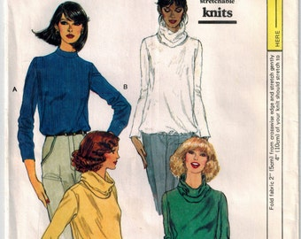 70's Misses Blouse Sewing Pattern Pullover Round Neckline Standing Collar Back Zipper Cowl Neck Blouson  Long Sleeves Vogue 7132 Bust 38