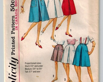 Vintage 60s Skirt Sewing Pattern in Two Lengths Dart Fitted Waist Inverted Pleats Front and Back Side Zipper Patch Pockets Waist 24 Hip 33