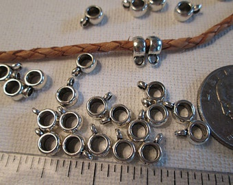 Metal Bail Beads, 9x4mm, Silver Tube Slider Bead, Pendant Charm Hanger, Small Charm Bail, Silver Bail Bead, 3mm Large Hole, 1mm Loop - bm138