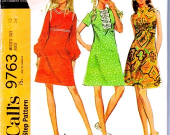 "Vintage Sewing Pattern 1960's McCall's 9763 Ladies' Dress 34"" Bust - Free Pattern Grading E-book Included"