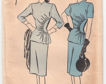 Vintage Sewing Pattern 1940's Two-Piece Dress Advance 4060 - Free Pattern Grading E-book Included