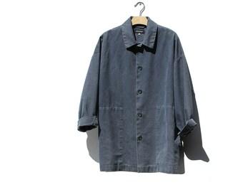 ESKANDAR Indigo Blue Linen Jacket / Oversized Jacket