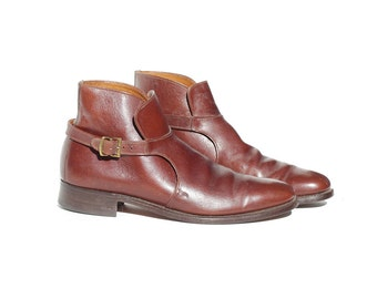 Vintage Men's Brown Leather Strap Ankle Boots / size 9