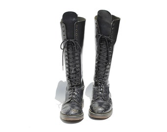 Vintage Black Leather Lace Tall boots / Dr Martens Lace Boots / size 9.5