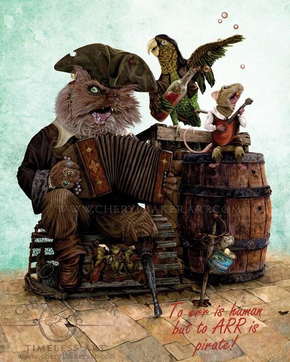 Pirate Art Print - Pirate Art for Children - Woodland Nursery Print - Nursery Woodland Art - Art for Boys Room - Steampunk Pirate - Cat Art