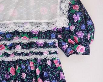Vintage girls dress Polly Flinders navy floral size