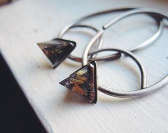 Sterling Hoops for Gauged Ears // Lavender Flower Pyramids