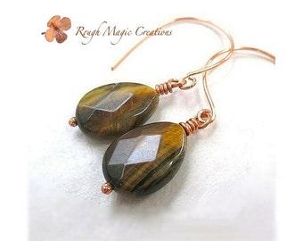 Tiger Eye Earrings. Chunky Gemstone Earrings. Copper. Earthy Color Brown Stones. Fall Earrings. Autumn Jewelry. Large Teardrop Earrings