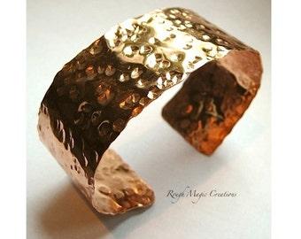 Textured Cuff Bracelet. Hammered Copper Jewelry. Shiny Bright Metal Jewelry. Rustic Metalwork Cuff