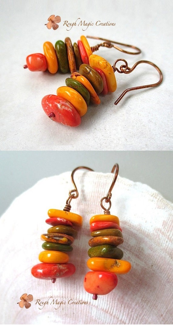 Colorful Autumn Gemstone Earrings. Fall Trending Colors. Spicy Mustard, Potters Clay. Chunky Stone Stacks. Southwestern Boho Tribal Style
