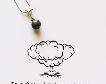 Bomb pendant Necklace,Blackened Silver Necklace, Hipster Jewelry, Cartoon Bomb Necklace, Boom Necklace Black Charm