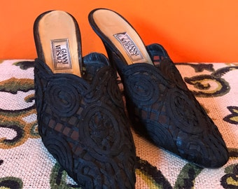 SALE Gianni Versace Shoes // Lace Heels // Black Mules // 90s Shoes // Goth // Gothic // Designer Shoes // Avant Garde // Size 36 US 5.5 6