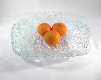 Clear Recycled Glass Fruit Bowl