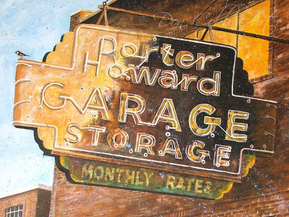 Shreveport Rusty Neon Sign Acrylic Painting Art Prints Signed