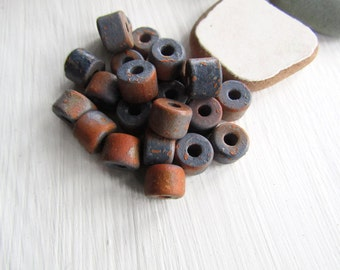 Blue brown barrel ceramic beads, multi tone , rough ripped paint effect,  rustic ronedelle  beads  8mm x 5mm ( 12 beads ) 6ass6-3