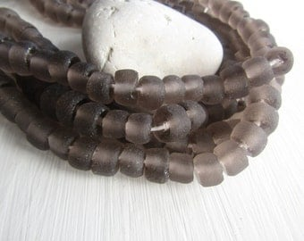 Grey Recycled glass beads, smoky grey rondelle,  matte frosted , irregular uneven ,  indonesia 7 to 10mm x 10 to 13mm  (16 beads) 6ak4-5