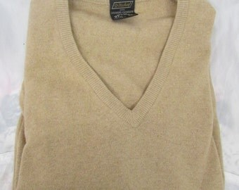 Vintage 1960's 1970's Cashmere  Sweater Pullover V-Neck Beige St. Michael Made in the UK Size 38 EUR 48