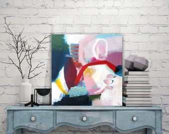 "Abstract painting, Original acrylic painting on stretched canvas, Colorful painting.  20"" x 20"""