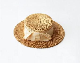 1960s Beige Boater Straw hat