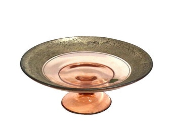 Pink & Sterling Pedestal | Glass and Silver Bowl | Vintage Decor