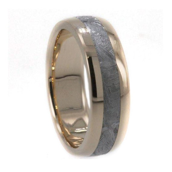 Gibeon Meteorite Wedding Band For Men or Women, 18k Yellow Gold Ring, Unique Wedding Band or Astronomy Jewelry