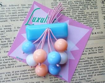 Pretty pastels 40s 50s bakelite fakelite style novelty pastel cherry vintage inspired brooch by Luxulite