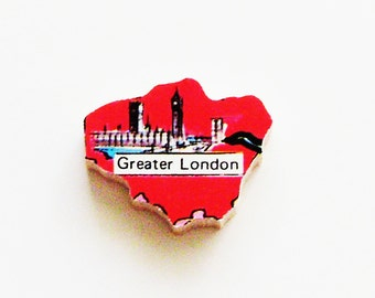 1960s Greater London England Brooch - Pin / Unique Wearable History Gift Idea / Upcycled Vintage Wood Jewelry / Timeless Gift Under 25