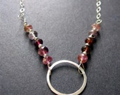 Circle Necklace, Tourmaline Necklace, Minimal Jewelry, Gemstone Necklace, Sterling Silver Necklace