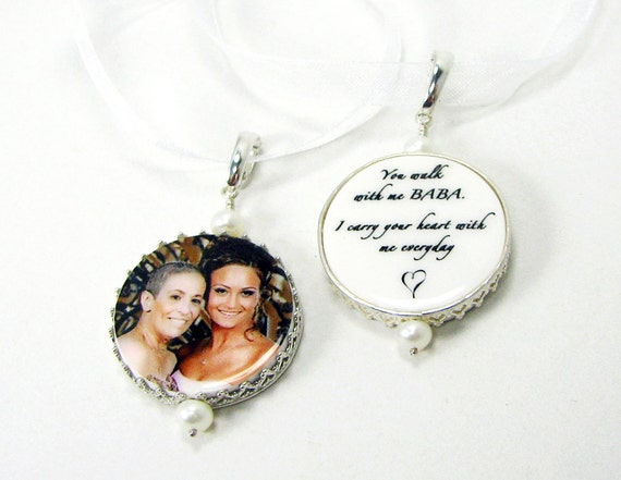 Bridal Bouquet Memorial charms framed in sterling - Bouquet Jewelry - FBC16Px2