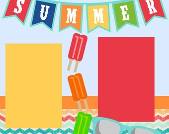 Summer 12X12 Scrapbook Page Kit or Premade Layout
