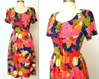 1960s Psychedelic Dress / 60s Mod Fit and Flare Dress / Colorful SPOTS & DOTS Dress