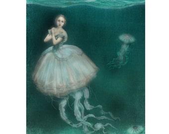 Jellyfish Gown Nautical Blue Print Digital Art Surreal Home Decor Beach House Ocean Sea