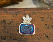 Reserved. Druzy Flower Ring. Small Square Sparkly Dark Purple Blue Druzy Sterling Silver Ring. Made to Order.