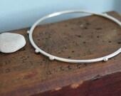 Modern Sterling Silver Bangle Bracelet. Stacking Bangle. Unique Pebble Studded Bangle. Fidget Jewelry.