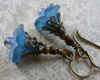 Petite Blue Flower Earrings with Lucite Flowers, Czech Glass and Antiqued Brass