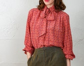 SALE- Printed Shirt in Red . Button Down Pussy Bow