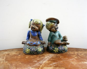 vintage 70s Pair of Groovy Boy & Girl Seated Floral Book Ends Bookends