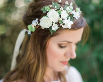 ivy flower crown, bridal headpiece, bridal flower crown, green flower crown, flower crown headband, floral headband, ivory floral crown, #93